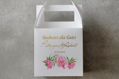 Pudełko na ciasto kwadratowe, tort weselny - Cykade nr 10 ze złoceniem - Delikatne różowe piwonie