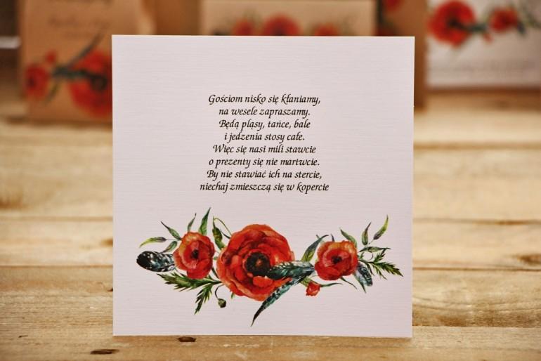Bilecik do zaproszenia ślubnego, prezenty ślubne, wesele - Owoce Leśne nr 6 - Czerwone polne maki
