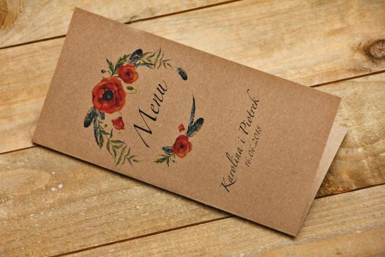 Menu weselne, stół weselny - Owoce Leśne nr 6 - Polne maki - ekologiczne dodatki ślubne