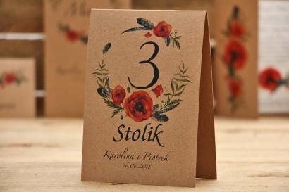 Numery stolików, stół weselny, ślub - Owoce Leśne nr 6 - Czerwone polne maki i pióra - ekologiczne dodatki ślubne