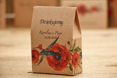 Pudełeczko stojące na cukierki, podziękowania dla Gości weselnych - Owoce Leśne nr 6 - Maki - ekologiczne dodatki ślubne