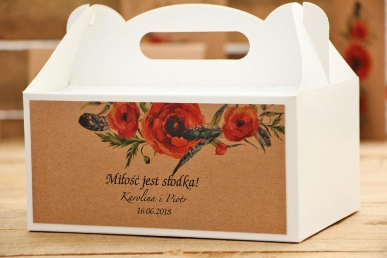 Prostokątne pudełko na ciasto, tort weselny, ślub - Owoce Leśne nr 6 - Polne maki - Ekologiczne dodatki ślubne