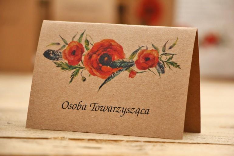 Winietki na stół weselny, ślub - Owoce Leśne nr 6 - Polne maki - ekologiczne dodatki ślubne