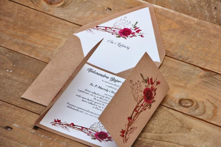 Zaproszenie ślubne ekologiczne z kopertą - Owoce Leśne nr 7 - Zimowo-świąteczne