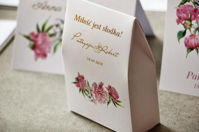 Pudełeczko na cukierki, podziękowania dla Gości weselnych - Cykade nr 10 ze złoceniem - Delikatne różowe piwonie