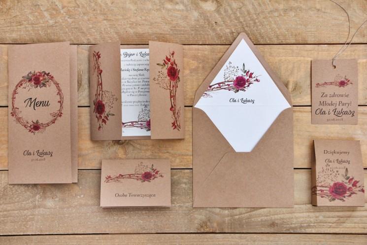 Zaproszenie ślubne z dodatkami - Owoce Leśne nr 7 - Zimowo-świąteczne - Ekologiczne z kopertą