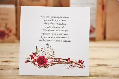 Bilecik do zaproszenia ślubnego, prezenty ślubne, wesele - Owoce Leśne nr 7 - Zimowo-świąteczna kompozycja
