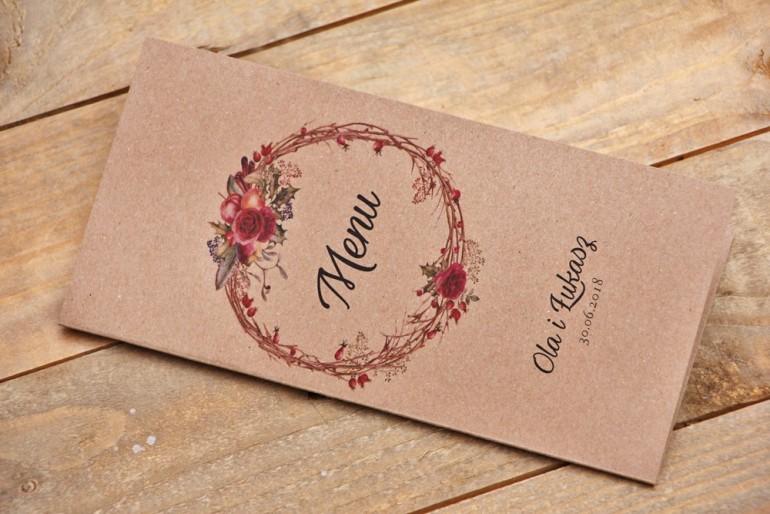 Menu weselne, stół weselny - Owoce Leśne nr 7 - Zimowo-świąteczne - ekologiczne dodatki ślubne