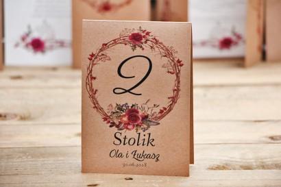 Numery stolików, stół weselny, ślub - Owoce Leśne nr 7 - Zimowo-świąteczne - ekologiczne dodatki ślubne