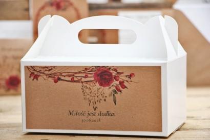 Prostokątne pudełko na ciasto, tort weselny, ślub - Owoce Leśne nr 7 - Zimowo-świąteczne - Ekologiczne dodatki ślubne