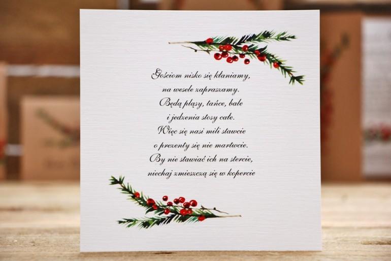 Bilecik do zaproszenia ślubnego, prezenty ślubne, wesele - Owoce Leśne nr 8 - Gałązki świerku