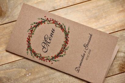 Menu weselne, stół weselny - Owoce Leśne nr 8 - Gałązki świerku i jarzębina - ekologiczne dodatki ślubne