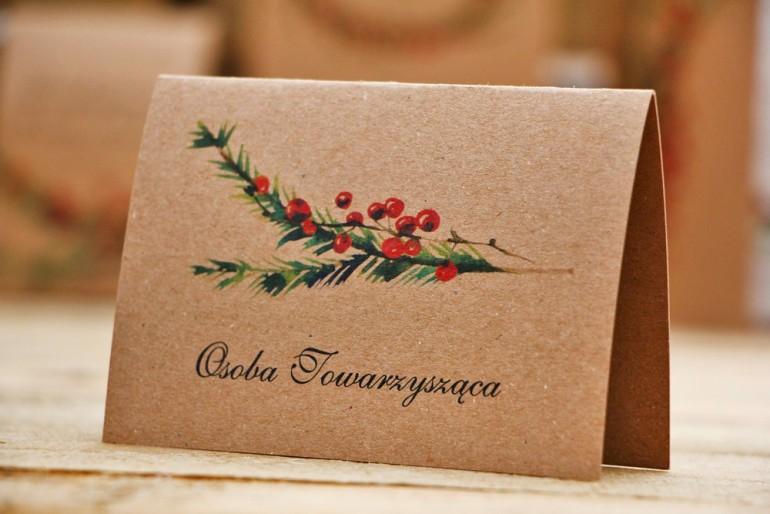 Winietki na stół weselny, ślub - Owoce Leśne nr 8 - Świerk i jarzębina - ekologiczne dodatki ślubne