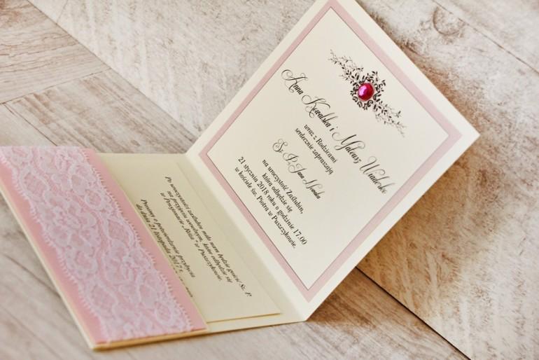 Zaproszenie ślubne, zaproszenia na ślub eleganckie z cyrkoniami - Z Koronką nr 1 - Pudrowy róż - Eleganckie