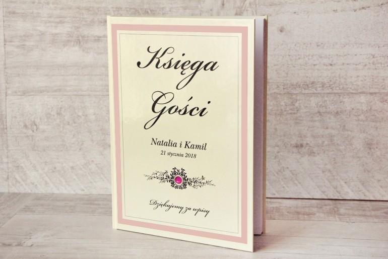 Księga Gości - dodatki ślubne, weselne - Z Koronką nr 1 - Pudrowy róż - Elegancka z cyrkonią