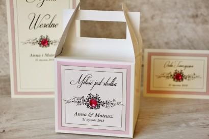 Pudełko na ciasto kwadratowe, tort weselny - Z Koronką nr 1 - Pudrowy róż z cyrkonią - dodatki ślubne