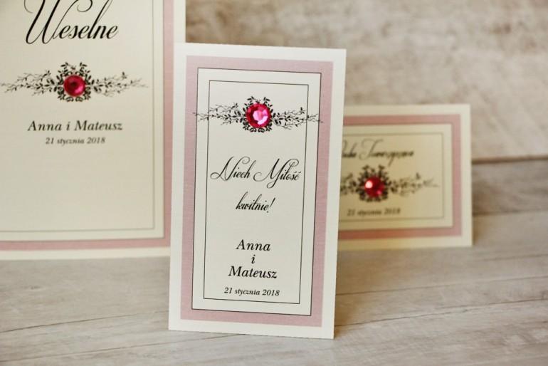 Podziękowania dla Gości weselnych - nasiona Niezapominajki - Z Koronką nr 1 - Pudrowy róż - eleganckie dodatki ślubne z cyrkonią