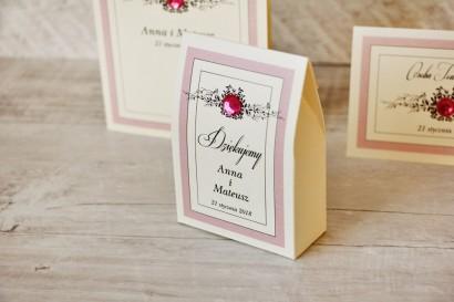 Pudełeczko stojące na cukierki, podziękowania dla Gości weselnych - Z Koronką nr 1 - Różowe - Eleganckie dodatki ślubne