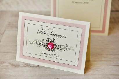 Winietki na stół weselny, ślub - Z Koronką nr 1 - Pudrowy róż - eleganckie dodatki ślubne z cyrkonią