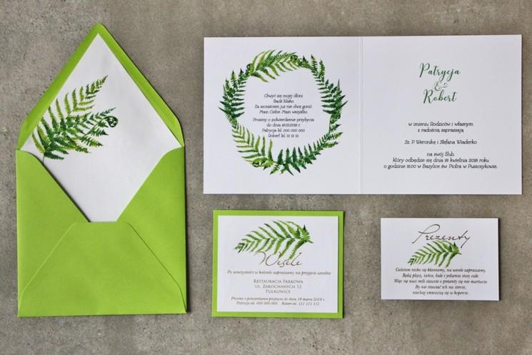 Zielone zaproszenia ślubne ze złoceniami. Złote zaproszenia ślubne z paprocią. RSVP. Cykade nr 11