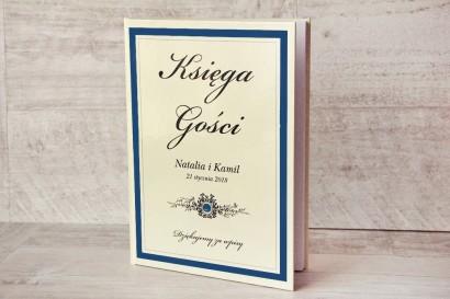 Księga Gości - dodatki ślubne, weselne - Z Koronką nr 2 - Chabrowo-kremowe - Elegancka z cyrkonią