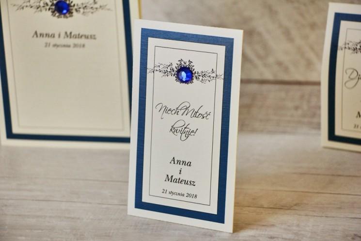 granatowe podziękowania dla gości weselnych