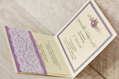 Zaproszenie ślubne, zaproszenia na ślub eleganckie z cyrkoniami - Z Koronką nr 3 - Liliowe - wnętrze zaproszenia