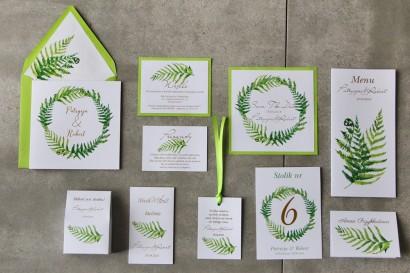 Zielone zaproszenia ślubne ze złoceniami. Złote zaproszenia ślubne z paprocią - zestaw próbny Cykade nr 11