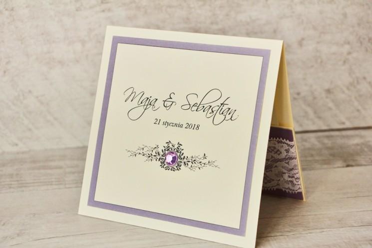 liliowe zaproszenia ślubne