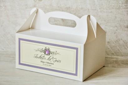 Prostokątne pudełko na ciasto, tort weselny, ślub - Z Koronką nr 3 - Liliowe - dodatki ślubne z cyrkonią