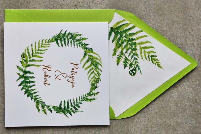 Zielone zaproszenia ślubne ze złoceniami. Złote zaproszenia ślubne z paprocią - Cykade nr 11