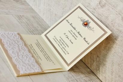 Zaproszenie ślubne, zaproszenia na ślub eleganckie z cyrkoniami - Z Koronką nr 4 - Brązowo-kremowe - wnętrze zaproszenia