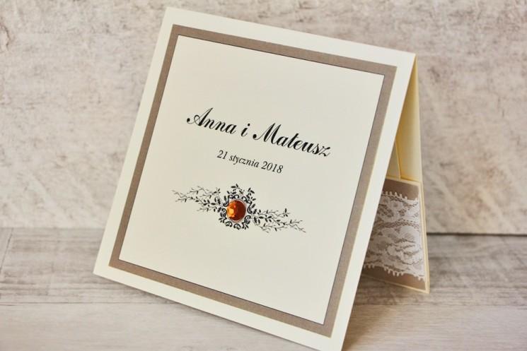 Zaproszenie ślubne, zaproszenia na ślub eleganckie z cyrkoniami - Z Koronką nr 4 - Brązowo-kremowe