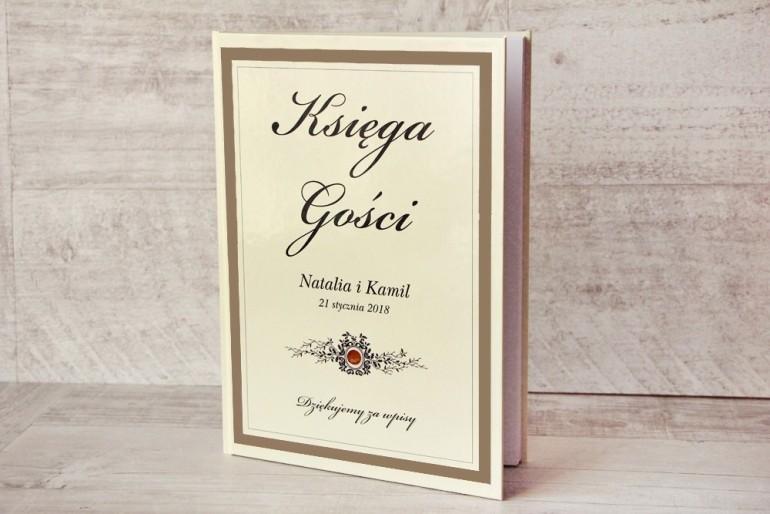 Księga Gości - dodatki ślubne, weselne - Z Koronką nr 4 - Brązowo-kremowa - Elegancka z cyrkonią