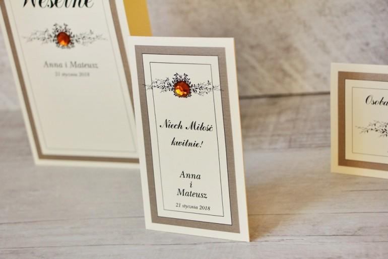 Podziękowania dla Gości weselnych - nasiona Niezapominajki - Z Koronką nr 4 - Brązowe - eleganckie dodatki ślubne z cyrkonią