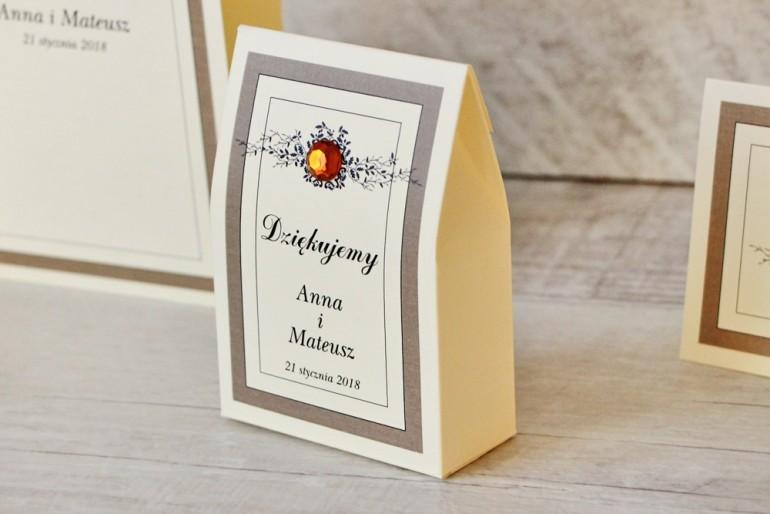 Pudełeczko stojące na cukierki, podziękowania dla Gości weselnych - Z Koronką nr 4 - Brązowo-kremowe - Eleganckie dodatki ślubne