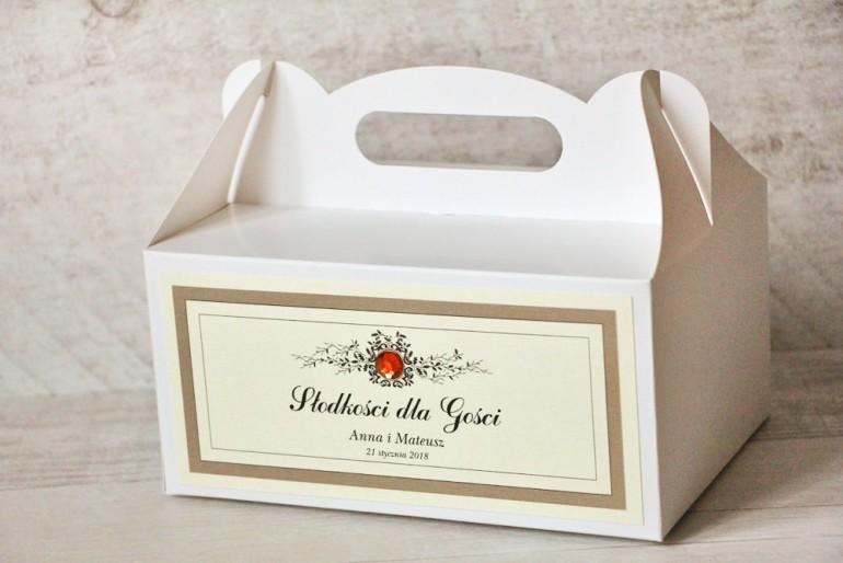 Prostokątne pudełko na ciasto, tort weselny, ślub - Z Koronką nr 4 - Brązowe - dodatki ślubne z cyrkonią