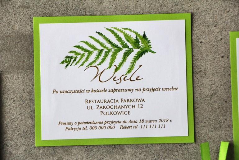 Bilecik dwuwarstwowy prezenty ślubne wesele - Cykade nr 11 ze złoceniem - Zielony liść paproci