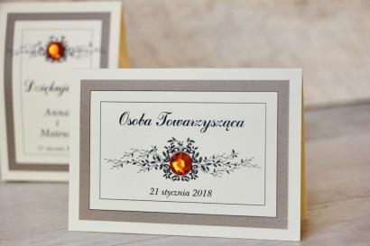 Winietki na stół weselny, ślub - Z Koronką nr 4 - Brązowe - eleganckie dodatki ślubne z cyrkonią