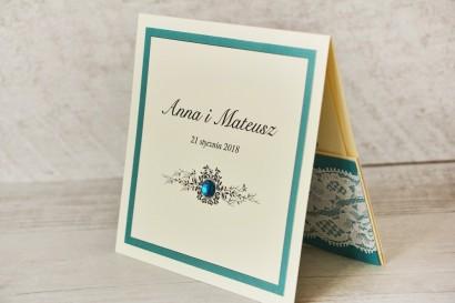 Zaproszenie ślubne, zaproszenia na ślub eleganckie z cyrkoniami - Z Koronką nr 5 - Szmaragdowe