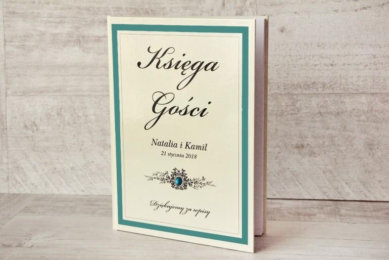Księga Gości - dodatki ślubne, weselne - Z Koronką nr 5 - Szmaragdowa - Elegancka z cyrkonią