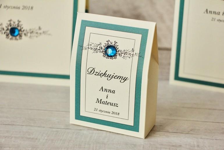 Pudełeczko stojące na cukierki, podziękowania dla Gości weselnych - Z Koronką nr 5 - Szmaragdowe - Eleganckie dodatki ślubne