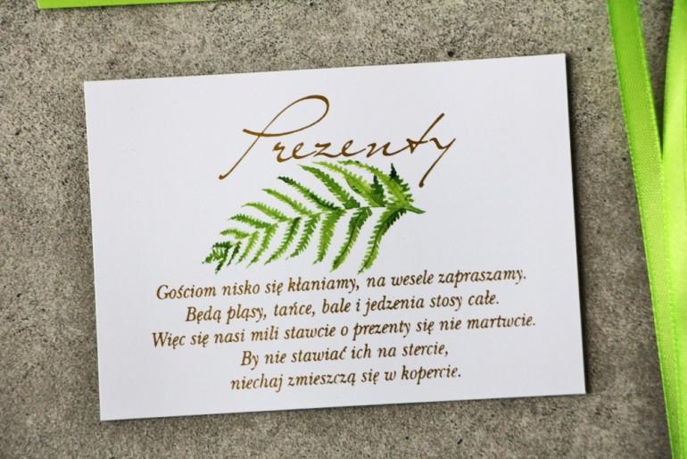 Bilecik prezenty ślubne wesele - Cykade nr 11 ze złoceniem - liść intensywnie zielonej paproci