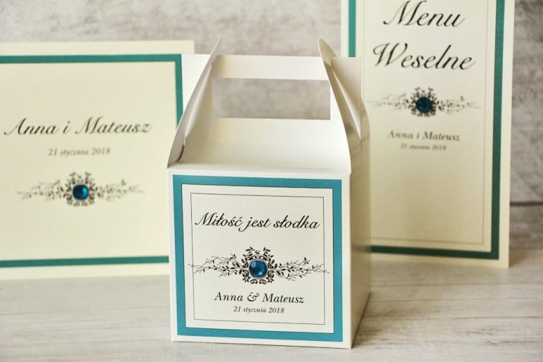 Pudełko na ciasto kwadratowe, tort weselny - Z Koronką nr 5 - Szmaragdowe - dodatki ślubne