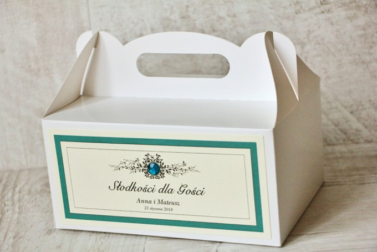 Prostokątne pudełko na ciasto, tort weselny, ślub - Z Koronką nr 5 - Szmaragdowe - dodatki ślubne z cyrkonią