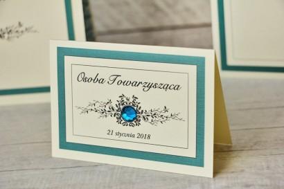 Winietki na stół weselny, ślub - Z Koronką nr 5 - Szmaragdowe- eleganckie dodatki ślubne z cyrkonią