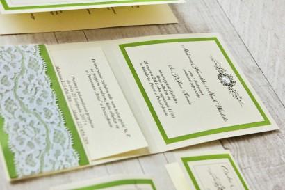 Zaproszenie ślubne, zaproszenia na ślub eleganckie z cyrkoniami - Z Koronką nr 6 - Zielone - wnętrze zaproszenia