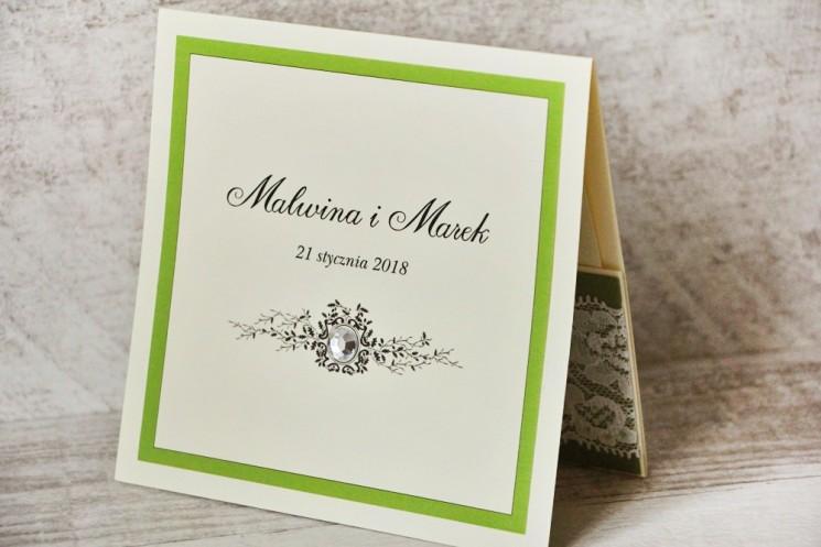 Zaproszenie ślubne, zaproszenia na ślub eleganckie z cyrkoniami - Z Koronką nr 6 - Zielone