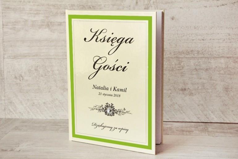 Księga Gości - dodatki ślubne, weselne - Z Koronką nr 6 - Zielono-kremowa - Elegancka z cyrkonią