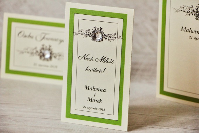 Podziękowania dla Gości weselnych - nasiona Niezapominajki - Z Koronką nr 6 - Zielone - eleganckie dodatki ślubne z cyrkonią